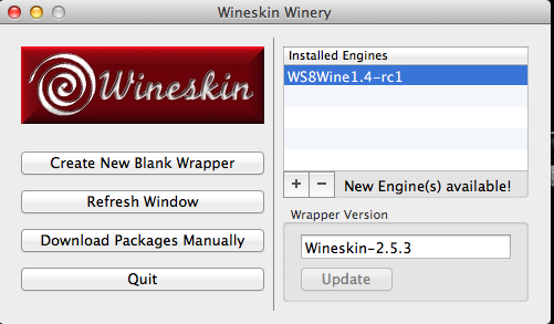 wineskin Hauptfenster